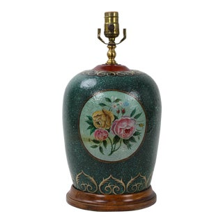 1970s Ginger Jar Lamp Featuring Windowed Flower Blooms For Sale