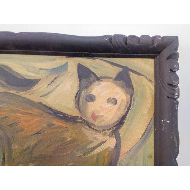 Arts & Crafts Portrait of Walking Feline Oil Painting For Sale - Image 3 of 5