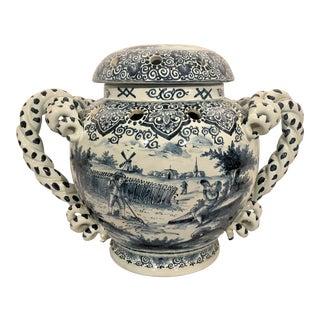 Antique 19th Century Dutch Delft Porcelain Tulipiere Urn, Circa 1840. For Sale