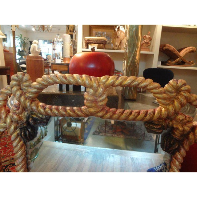 Italian Gilt Wood Mirror With Rope and Tassels For Sale - Image 4 of 9