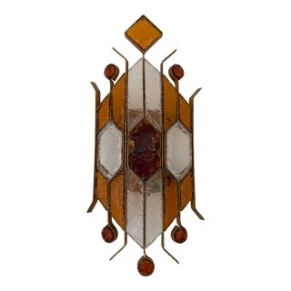 1970s Hammered Glass Sconce by Longobard, Italy For Sale