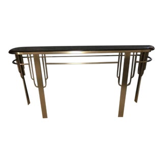 1980s Art Deco Glass and Chrome Sofa Table For Sale
