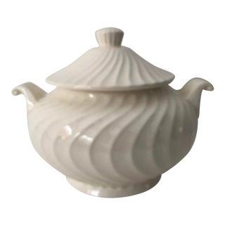 "Vintage Japanese Swirl Ceramic Soup Turine 8""dia For Sale"