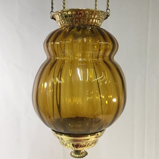 Victorian Antique Late 19th Century Victorian Moroccan Hanging Brass Amber Glass Lantern For Sale - Image 3 of 11