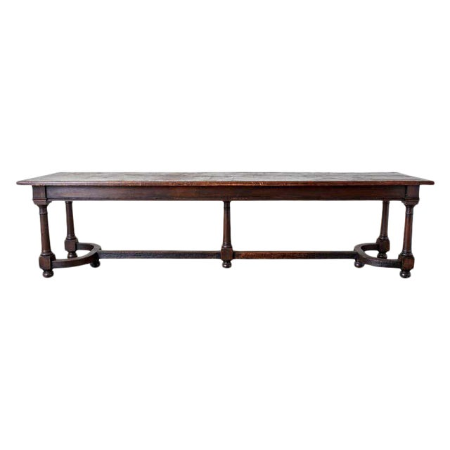 19th Century English Oak Refectory Dining Banquet Table For Sale