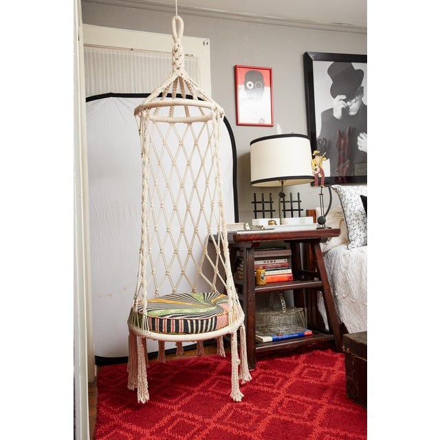 Boho Chic Vintage Boho Chic Macrame Hanging Chair For Sale - Image 3 of 13