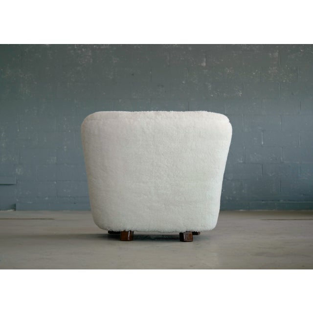 Viggo Boesen Style Lounge Chair Covered in Lambswool by Slagelse Mobelvaerk For Sale In New York - Image 6 of 9