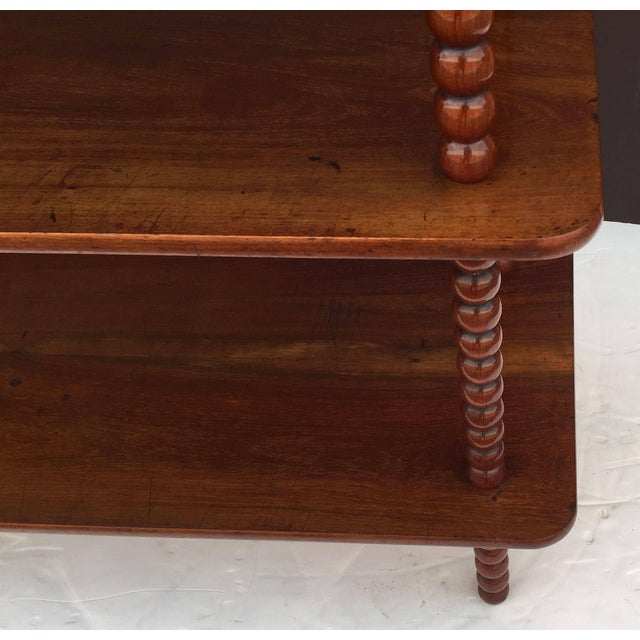 English Console Shelves of Mahogany with Bobbin Turned Supports For Sale - Image 10 of 11
