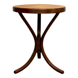 Thonet Bentwood Cane Top Tripod Table / Plant Stand For Sale