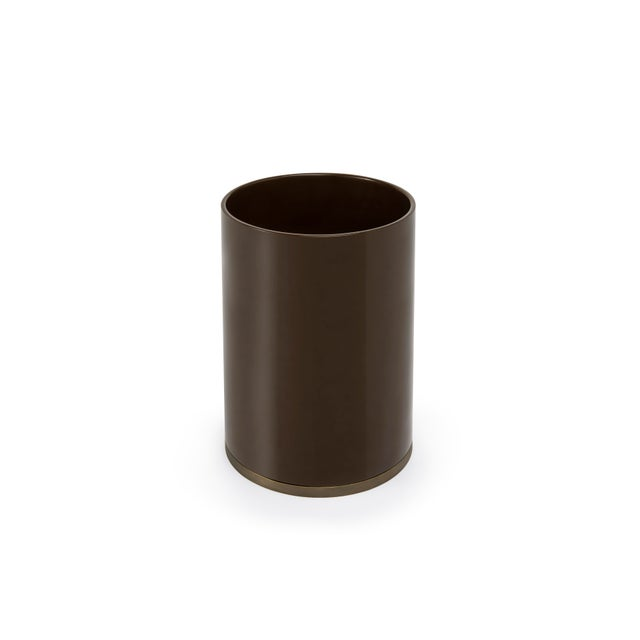 Contemporary Round Bin in Chocolate - Veere Grenney for The Lacquer Company For Sale - Image 3 of 3
