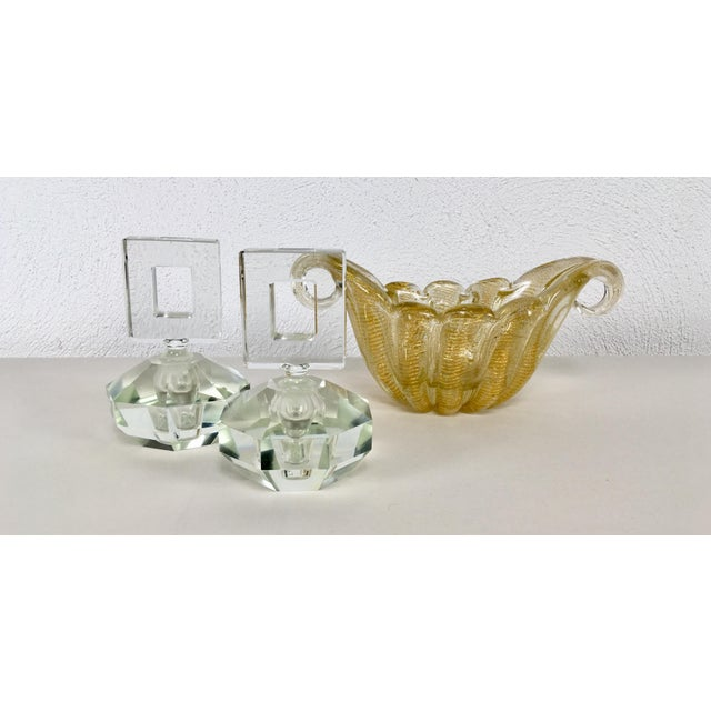 White Hand Cut Crystal Perfume Bottles – a Pair For Sale - Image 8 of 9