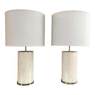 Bone Tile Table Lamps - A Pair