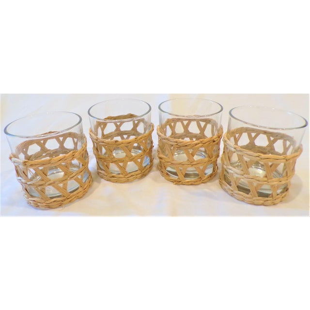 Boho Chic Vintage Rafia Wrapped Double Old Fashion Glasses - Set of 4 For Sale - Image 3 of 9