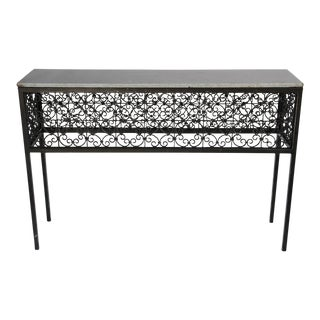 Iron Screen & Stone Console Table For Sale