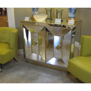 A Glamorous and Good Quality American Hollywood Regency 1940's Mirrored 2-Door Cabinet With Gilt Highlights Preview