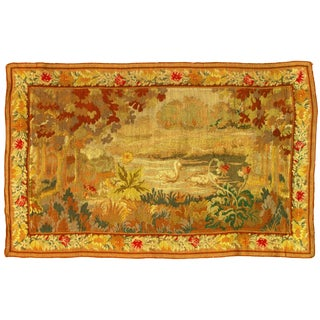 "Late 19th Century Antique Pasargad NY French Floral Tapestry -3'5""x 5'4"" For Sale"