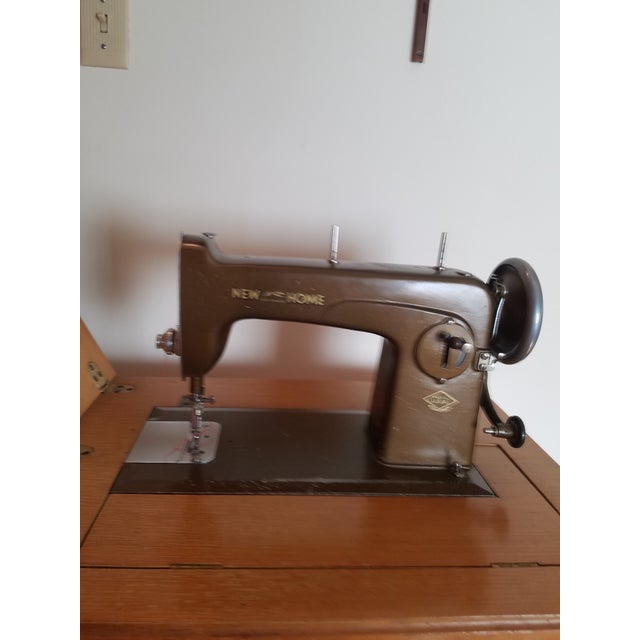 Mid-Century New Home Sewing Machine With Cabinet - Image 5 of 5