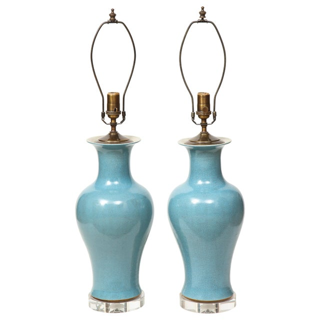 Crackle Glazed Blue Vase Lamps - A Pair For Sale - Image 13 of 13