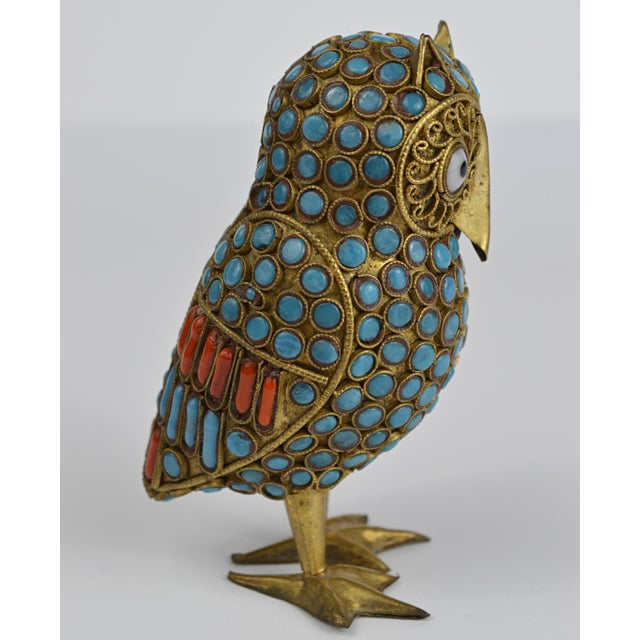 Nepalese Brass Owl Figurine With Turquoise and Coral For Sale - Image 4 of 13
