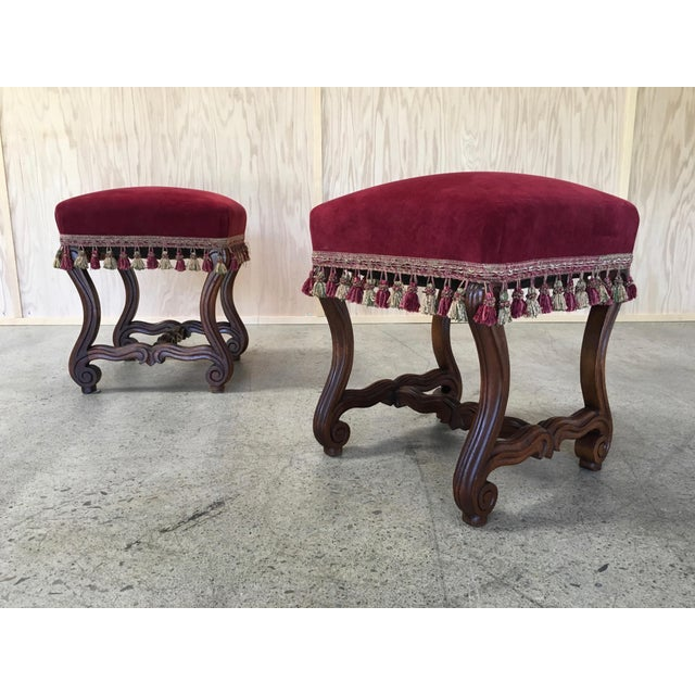 Antique Pair of 19th century French walnut Tabouret ottomans.