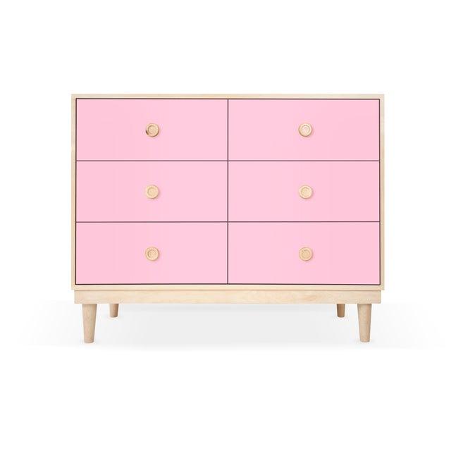 Nico & Yeye Luke Modern Kids 6-Drawer Dresser Solid Maple and Maple Veneers Pink For Sale In San Diego - Image 6 of 6