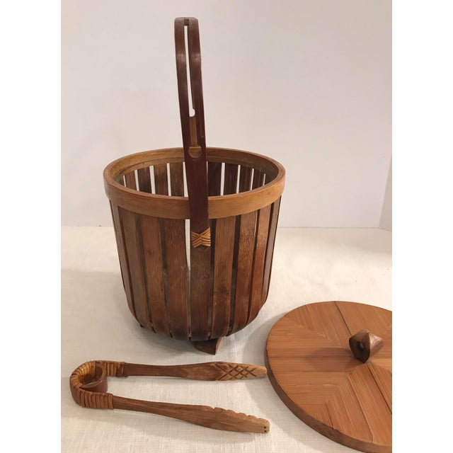 Vintage Bamboo Ice Bucket & Tongs - A Pair - Image 5 of 11