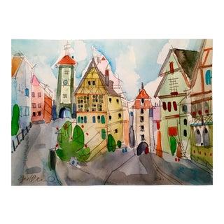German Village Watercolor Painting