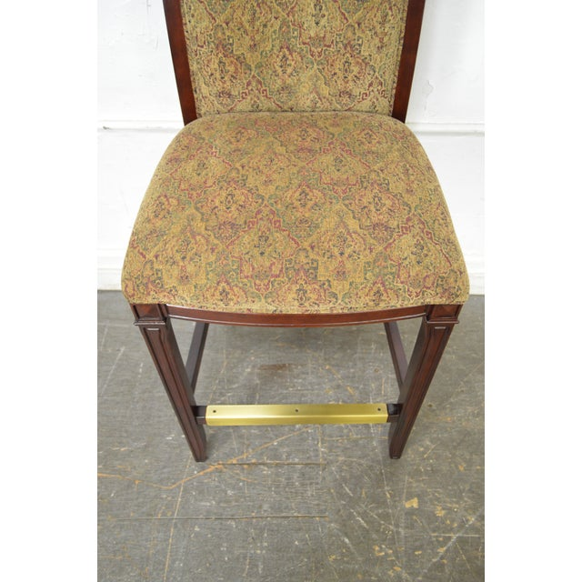 Drexel Mahogany Frame & Upholstered Bar Stools - Set of 4 - Image 4 of 10