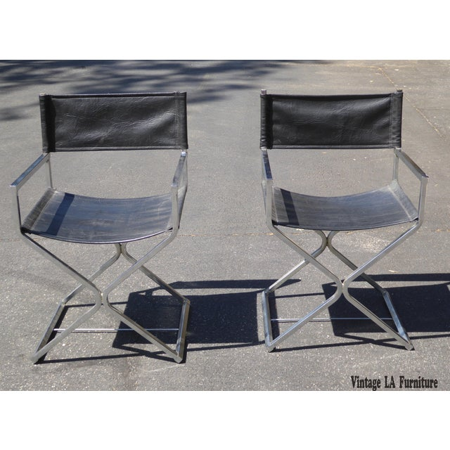 Pair of Vintage Contemporary Mid Century Modern Black Chrome Accent Chairs Unique Chairs in Great Vintage Condition. Solid...