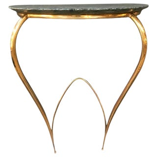 Console in Brass and Original Marble Attribute to Ico Parisi, Italy, 1950s For Sale