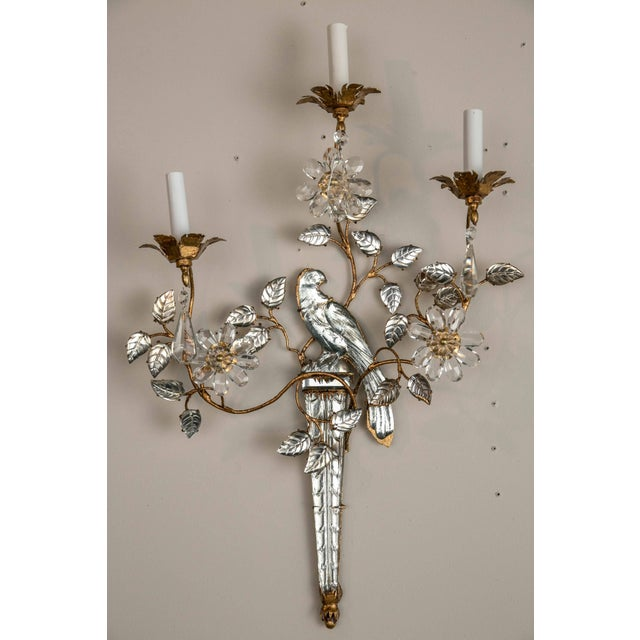 Contemporary French Three-Light Bronze Sconces - a Pair For Sale - Image 3 of 8