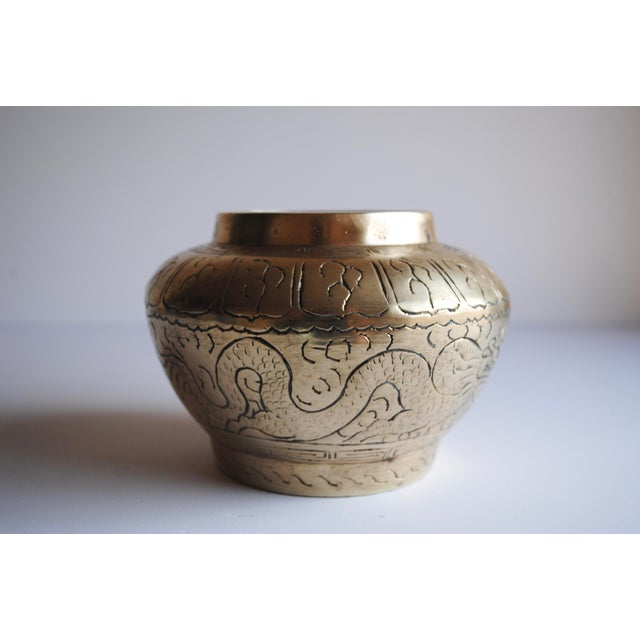 Antique Etched Brass Vase - Image 2 of 4