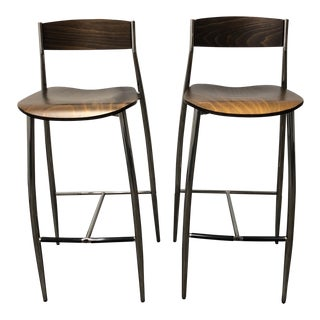 Italian Altek Baba Wood + Chrome Barstools - a Pair For Sale