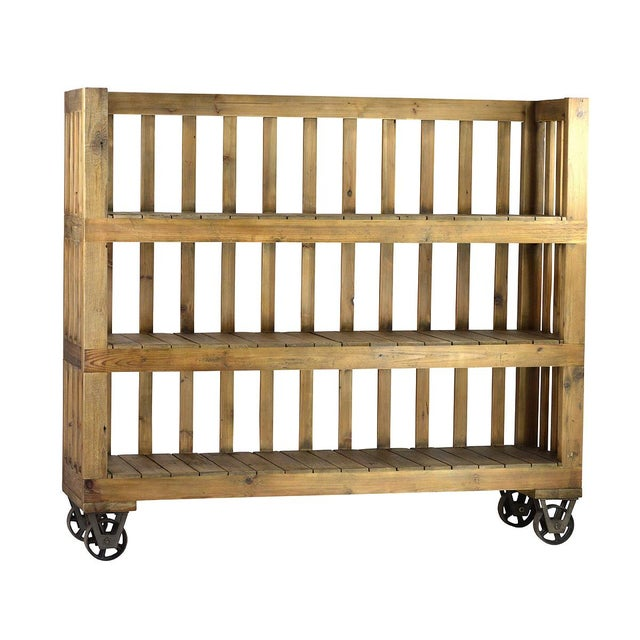 Reclaimed wood bookcase on casters chairish for Buy reclaimed wood los angeles