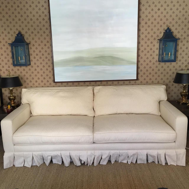 """Custom designed sofa with new striped cotton upholstery. 16"""" seat height."""