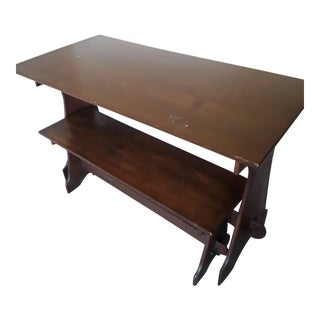 20th Century Early American Trestle Table and Bench For Sale