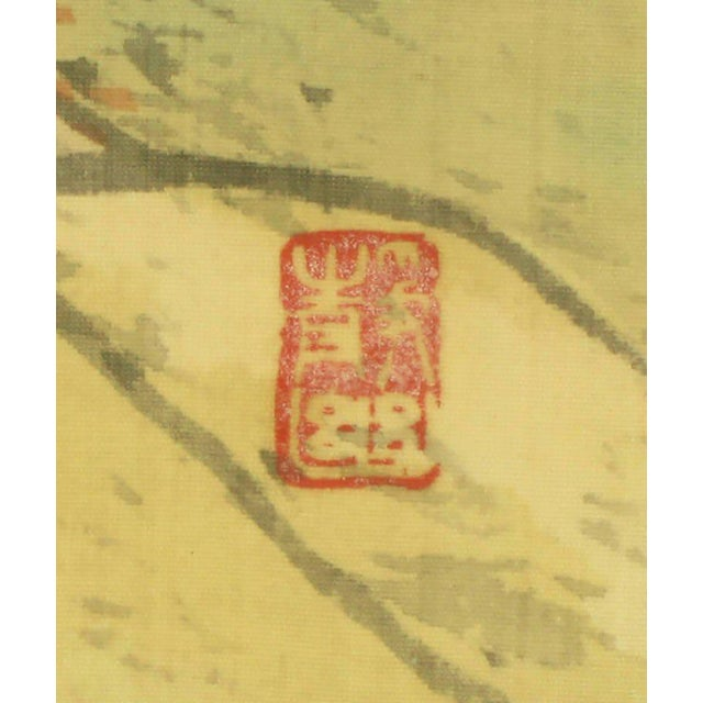 """Silk 67"""" Japanese Watercolor In Gilt Newcomb-Macklin Frame For Sale - Image 7 of 8"""