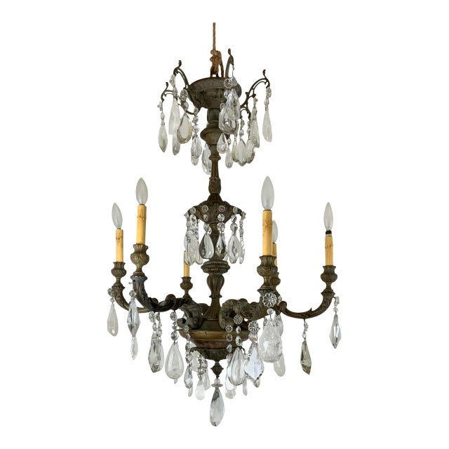 Late 19th / Early 20th Century French Bronze Chandelier With Rock Crystals For Sale