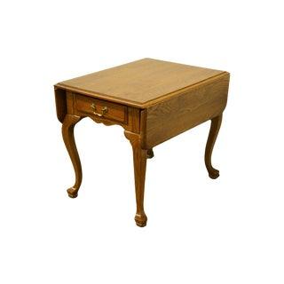 Ethan Allen Heirloom Nutmeg Pembroke / Drop-Leaf Accent End Table For Sale
