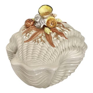Fitz and Floyd Hand Painted Shell Decoration Soup Tureen For Sale