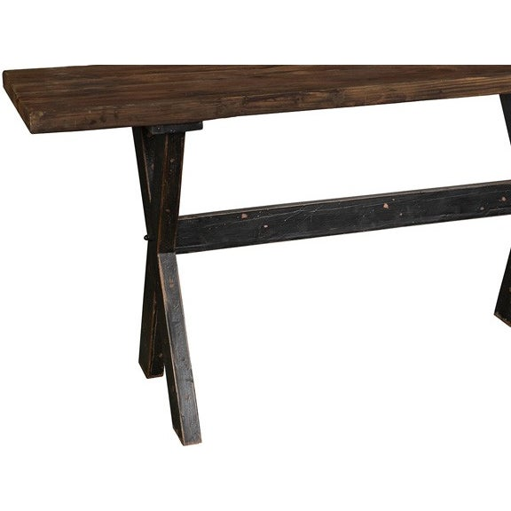 "A thick and sturdy 2"" top reclaimed wood table top with clear sealer and distressed wood black painted X legs. This is the..."