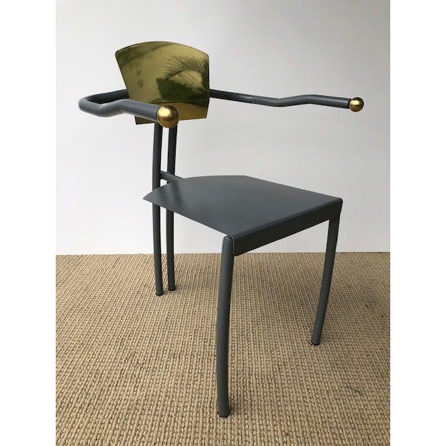 Metal 1980s Vintage Sculptural Memphis Style Arm Chair For Sale - Image 7 of 9