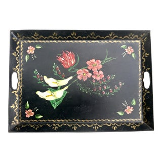 Large Vintage Hand-Painted Floral Tole Tray For Sale