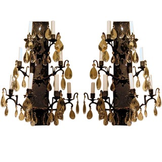 Vintage Iron and Crystal Wall Sconces - A Pair