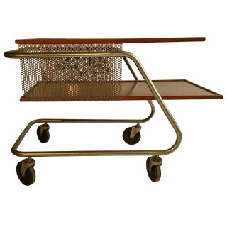 Mid-Century Modern Aluminum and Wood Industrial Trolly / Bar Cart For Sale