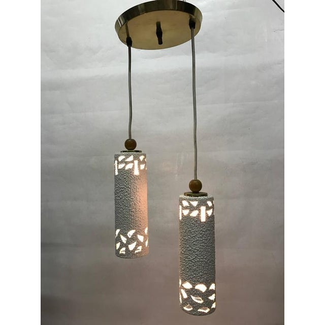 This Flush Mount 1960s Light Fixture Is Composed Of Two Cream Textured Ceramic Pendants Each
