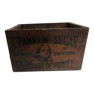 Vintage Industrial Wood Shipping Crate Box - Benjamin Franklin Sugar For Sale
