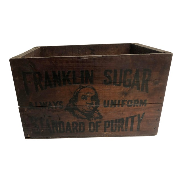 Vintage Industrial Wood Shipping Crate Box - Benjamin Franklin Sugar For Sale