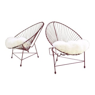 Vintage Red Metal Papasan Chairs With Custom Sheepskin Cushions - a Pair For Sale
