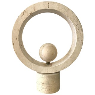 Midcentury Italian Travertine and Brass Kinetic Sculpture For Sale